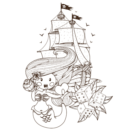 Mermaid, pirate ship, dice. Graphics Pirate theme. Ilustrace
