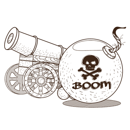 The gun and the bomb. Graphics Pirate theme 일러스트