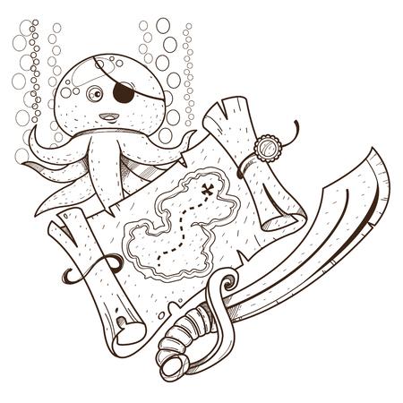 Octopus, treasure map, pirate sword. Graphics Pirate theme.