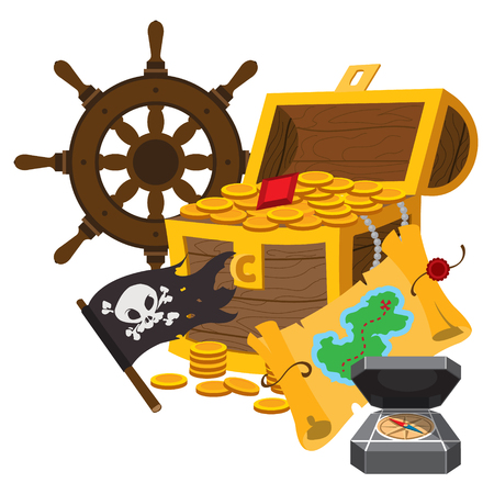 Treasure Chest, the wheel, the Jolly Roger. Graphics Pirate theme Çizim