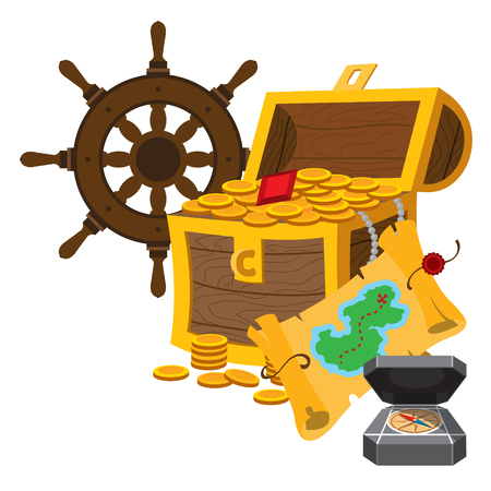 Treasure Chest, a steering wheel, treasure map and compass. Graphics Pirate theme