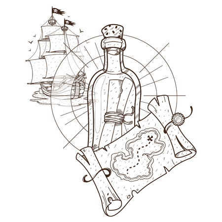 Pirate ship, treasure map, a bottle with a message. Graphics Pirate theme.
