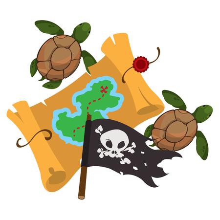Treasure map, pirate flag, sea turtles. Graphics Pirate theme
