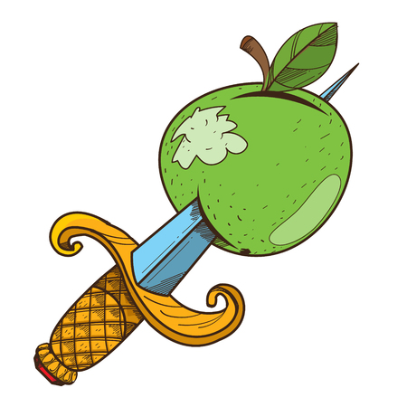 Apple with a dagger clipart on pirate theme