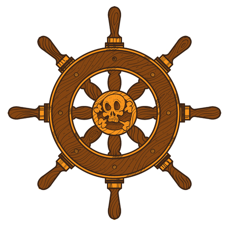 Ship wheel. Graphic on the marine theme