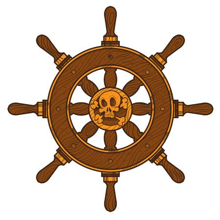 Ship wheel. Graphic on the marine theme