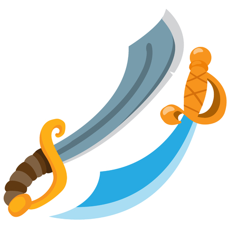 Pirate sword. Cold medieval weapons. Vector illustration isolated on white background. Illustration