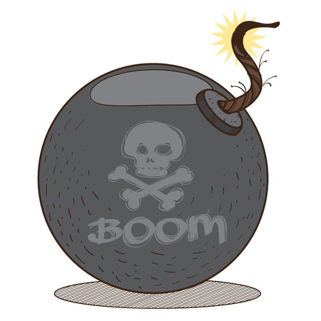 Bomb illustration on the pirate theme. Vector illustration isolated on white background. Illustration