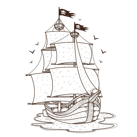 Ship with black sails. Pirate frigate. Pictures on a naval theme. Illustration