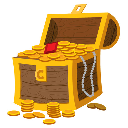 Treasure chest. Illustration on the pirate theme.