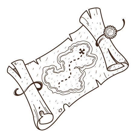 Map of the island with buried treasure. Illustration on the pirate theme.