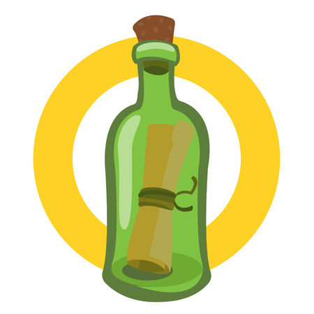 Message in a bottle. Illustration on the pirate theme. Banque d'images - 110620460
