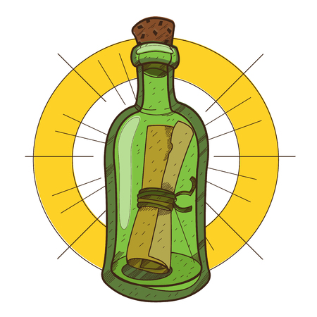 Message in a bottle. Illustration on the pirate theme. Banque d'images - 110620461