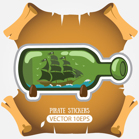 Boat with a glass bottle. Vector stickers on the pirate theme Vektorové ilustrace
