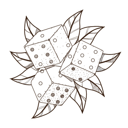 Dice with green foliage. Illustration on the pirate theme. Vector Illustration