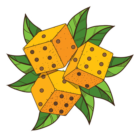 Dice with green foliage. Illustration on the pirate theme.