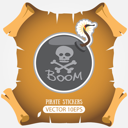 Bomb. Vector stickers on the pirate theme. Illustration