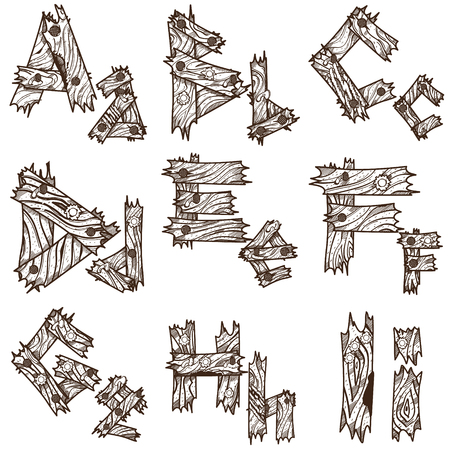 English alphabet from pieces of wood. The original font design of the pieces of plywood. English letters for coloring.
