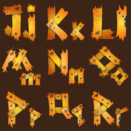 English alphabet from pieces of wood. The original font design of the pieces of plywood