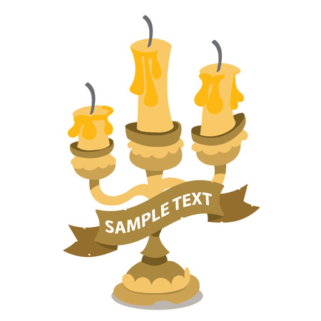 Candlestick on three candles with ribbon banner. Vintage household items. Cartoon drawing for gaming mobile applications. Çizim