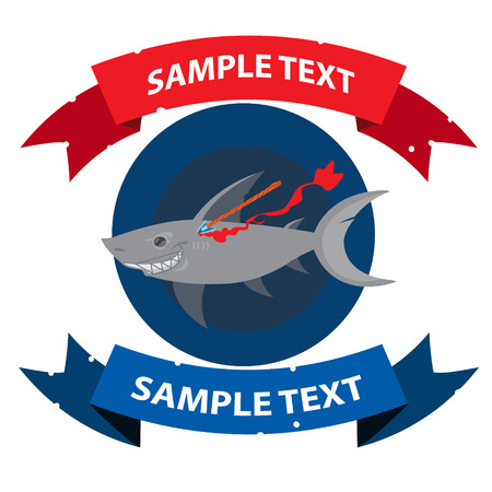 Wounded shark with ribbon banner. Clipart on the marine theme. Animal protection