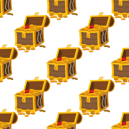 Seamless pattern for design surface Treasure chest