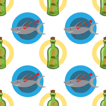 Seamless pattern for design surface Message in a bottle. Banque d'images - 113440486