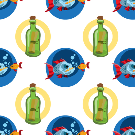 Seamless pattern for design surface Message in a bottle. Banque d'images - 113441099