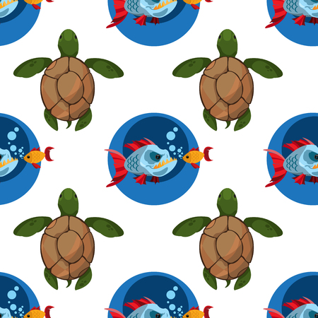 Seamless pattern for design surface Piranha and goldfish.