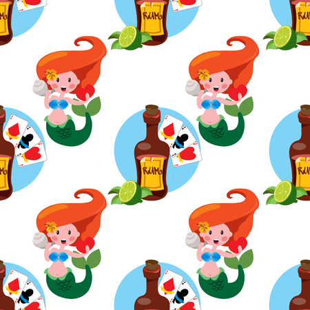 Seamless pattern for design surface on pirate theme. Bottle of rum and playing cards. Illustration