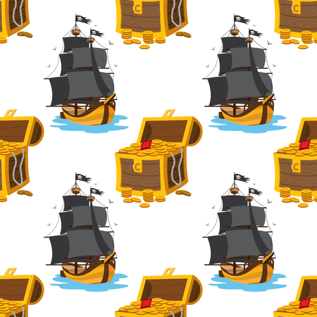 Seamless pattern for design surface Treasure chest. Çizim