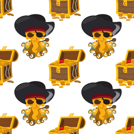 Seamless pattern for design surface Treasure chest.