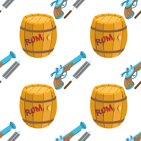 Seamless pattern for design surface Musket and ramrod. Illustration