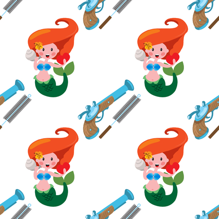 Seamless pattern for design surface Mermaid and weapon. Illustration
