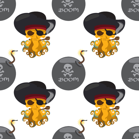 Seamless pattern for design surface Pirate octopus. Illustration