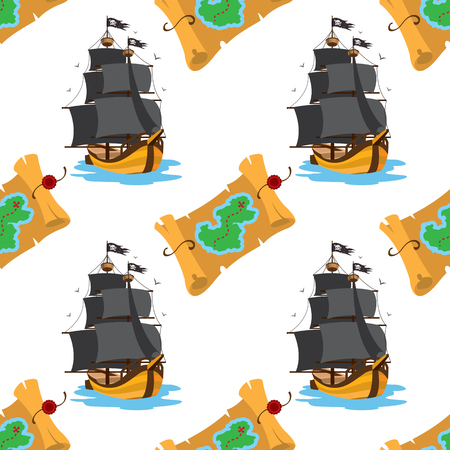 Seamless pattern for design surface Map of the island with buried treasure.