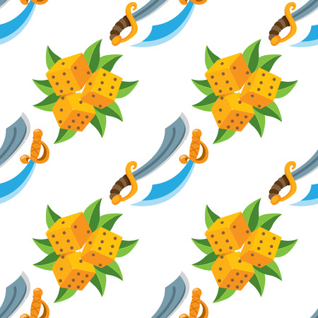 Seamless pattern for design surface Pirate sword.