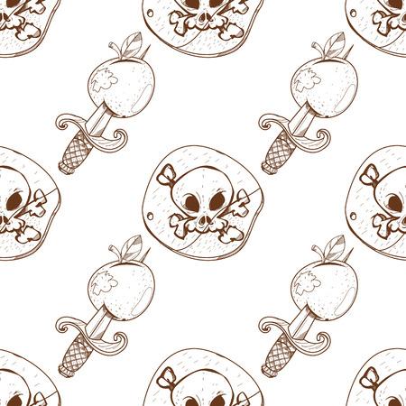 Seamless pattern for design surface Black Label pirate symbol. Vector Illustration