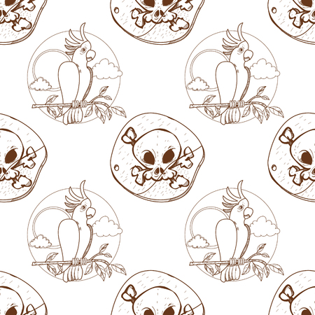 Seamless pattern for design surface Parrot Cockatoo white large. Vector Illustration