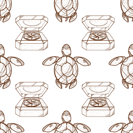 Seamless pattern for design surface Sea turtles. Vector Illustration