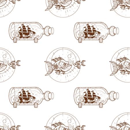 Patrón sin fisuras para la superficie de diseño Piraña y peces de colores. Ilustración de vector