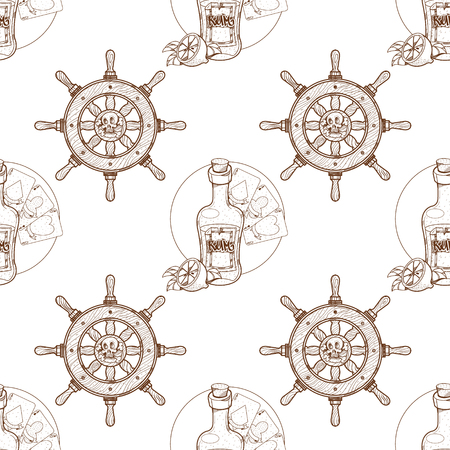 Seamless pattern for design surface on pirate theme. Bottle of rum and playing cards