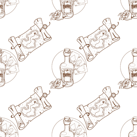 Seamless pattern for design surface on pirate theme. Bottle of rum and playing cards. Çizim