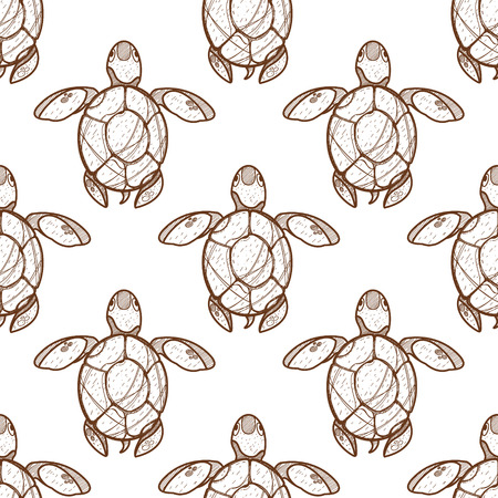 Seamless pattern for design surface Sea turtles