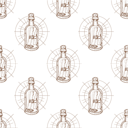 Seamless pattern for design surface Message in a bottle Vectores