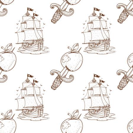 Seamless pattern for design surface Ship with black sails. Ilustração