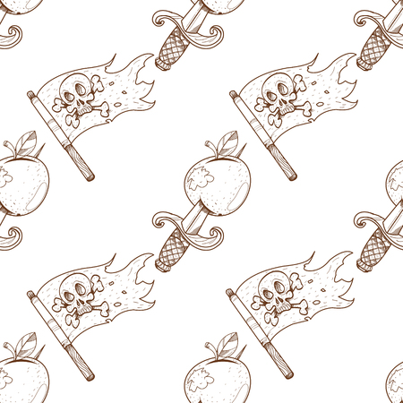 Seamless pattern for design surface Apple with a dagger. Illustration