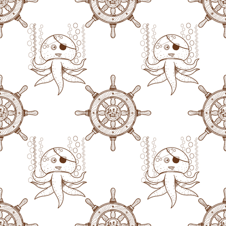 Seamless pattern for design surface Octopus. Marine life. Vector Illustration