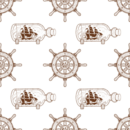 Seamless pattern for design surface Boat with a glass bottle.