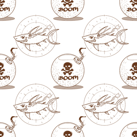 Outline seamless pattern for design surface Bomb.